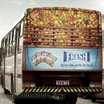 Another nice rear bus ad!   A huge virtual load of fruit.  Colorful bus ads get noticed!