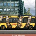 One of my FAVORITE bus ads of all time!  A fantastic design!  The bus actually becomes an important part of the ad!  Do you have an idea for using the bus as a prop in an ad for your business?     Call me!  Lets design an eye catching bus ad for YOUR BUSINESS!  989 345-4875