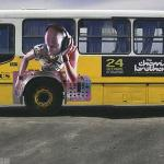 Another example of using the bus tire to add motion to the ad.  This time it's a DJ.