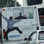 This guy will get your attention!  The use of shadowing helps to complete the illusion of a guy scaling the rear of the bus.  It reminds me of the ad I designed for a drywall company.