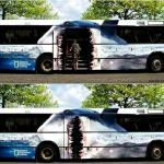How cool is this ad?!  Do you think it got noticed?  The motion of the door (shark's mouth) is another example of how bus advertising is COMPLETELY UNIQUE!   Buses offer the built in advantage of MOTION!  Motion catches the eye and creates impact!    Let's create some impact for YOUR BUSINESS!