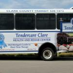 Tendercare Clare bus ad on the Clare County Transit Buses, Clare, Michigan.