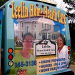 Rear bus ad for Leelin Home Health Care on the Ogemaw County Transit buses, West Branch, Michigan.