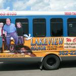 Lakeview Manor Bus Ad on the ITC buses, Tawas, Michigan.
